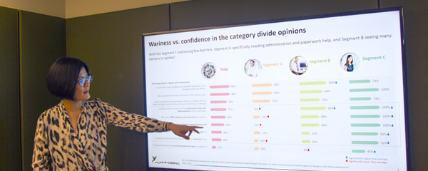 Hummingbird Insight's research director, Lisa M Lee presenting a powerpoint slide about Quantitative research in a board room