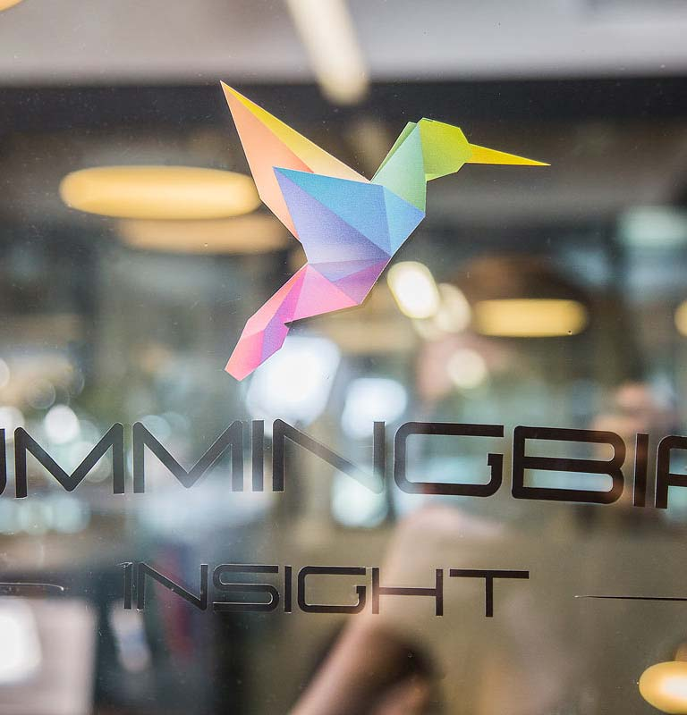 The Hummingbird Insight logo printed on a glass door